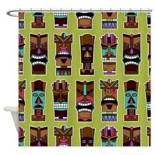 Colorful Tiki Mask Pattern Shower Curtain