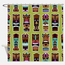Colorful Tiki Mask Pattern Shower Curtain