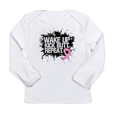 Breast Cancer Kick Butt Long Sleeve Infant T-Shirt