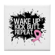 Breast Cancer Kick Butt Tile Coaster