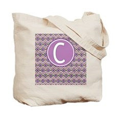 Initial C Orchid Aztec Pattern Monogrammed Tote