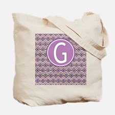 Letter G Orchid Aztec Pattern Monogrammed Tote