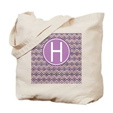 Letter H Orchid Aztec Pattern Monogrammed Tote