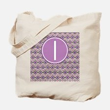 Letter I Orchid Aztec Pattern Monogrammed Tote