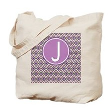 Letter J Orchid Aztec Pattern Monogrammed Tote