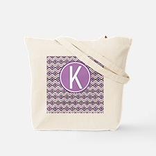 Letter K Orchid Aztec Pattern Monogrammed Tote