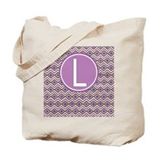 Letter L Orchid Aztec Pattern Monogrammed Tote