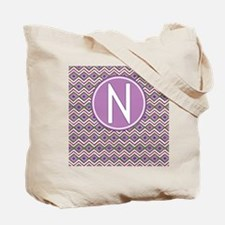 Letter N Orchid Aztec Pattern Monogrammed Tote