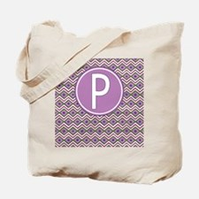 Letter P Orchid Aztec Pattern Monogrammed Tote