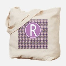 Initial R Orchid Aztec Pattern Monogrammed Tote