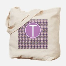 Initial T Orchid Aztec Pattern Monogrammed Tote