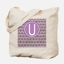 Initial U Orchid Aztec Pattern Monogrammed Tote