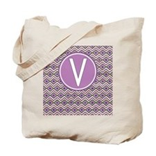 Initial V Orchid Aztec Pattern Monogrammed Tote