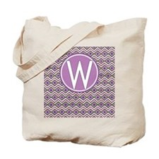 Initial W Orchid Aztec Pattern Monogrammed Tote