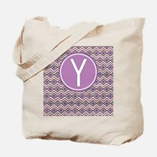 Initial Y Orchid Aztec Pattern Monogrammed Tote