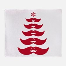 red mustache Christmas tree Throw Blanket