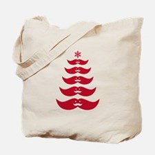 red mustache Christmas tree Tote Bag