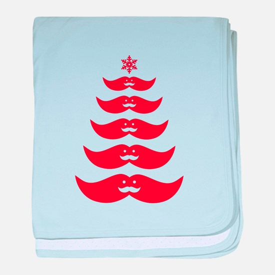 red mustache Christmas tree baby blanket