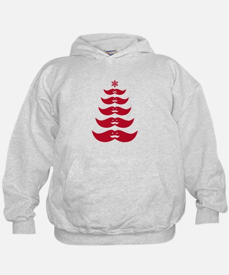 red mustache Christmas tree Hoodie