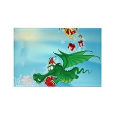Cute Christmas Dragon  Rectangle Magnet
