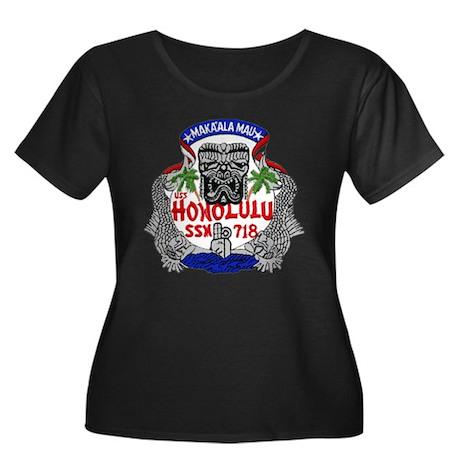 SSN 718 Women's Plus Size Scoop Neck Dark T-Shirt