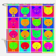 Pop Art Cartoon Cats Shower Curtain