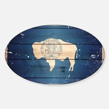 Wyoming State Flag Sticker (Oval)