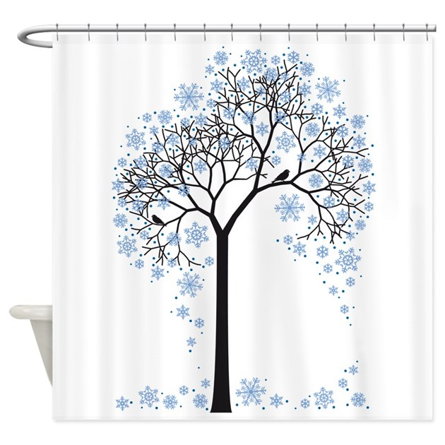 Winter Tree With Birds Shower Curtain By Illustree
