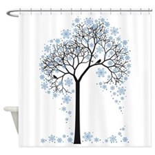 Winter tree with birds Shower Curtain