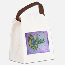 Believe Word Art Canvas Lunch Bag