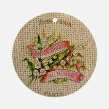 vintage scripts  floral french art Round Ornament