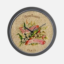 vintage scripts  floral french art Wall Clock