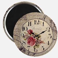 vintage clock floral burlap scripts Magnet
