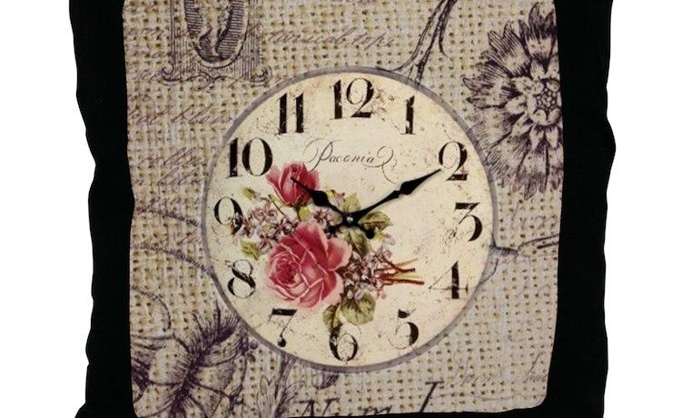 Vintage Clock Floral Burlap Scripts Throw Pillow