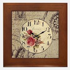 vintage clock floral burlap scripts Framed Tile