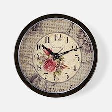 vintage clock floral burlap scripts Wall Clock