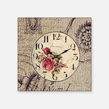 """vintage clock floral burlap Square Sticker 3"""" x 3"""""""