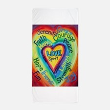 Rainbow Spirit Words Heart Beach Towel