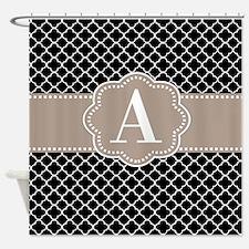 Black Taupe Quatrefoil Monogram Shower Curtain