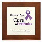Crohns disease purple ribbon Framed Tiles