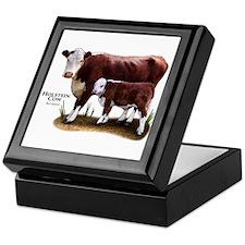 Hereford Cow and Calf Keepsake Box