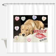 Valentines Day Golden Retriever Shower Curtain