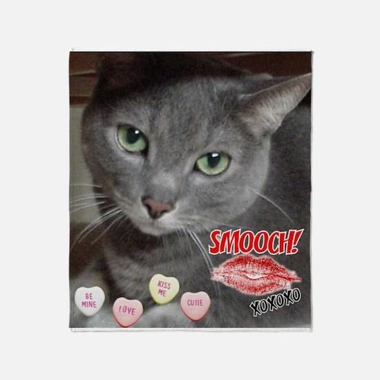 Valentine Russian Blue Gray Cat Throw Blanket