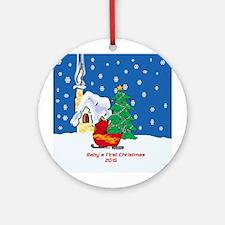 2015 Sledding Baby's First Christmas Ornament