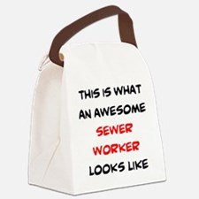 awesome sewer worker Canvas Lunch Bag