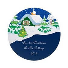 2014 First Cottage Christmas Ornament (Round)