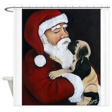 Santa and Mastiff Puppy Shower Curtain