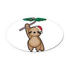 Holiday Sloth Oval Car Magnet