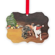 Puppies Chasing Santa Hat Ornament