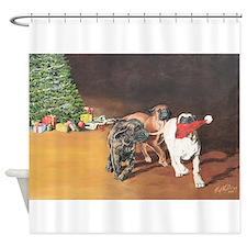 Puppies Chasing Santa Hat Shower Curtain